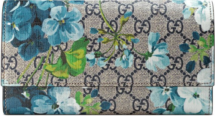 7c9e9e3cfb50be GG Blooms continental wallet - A continental wallet in our Blooms print on  our GG Supreme canvas. Beige/blue GG Supreme canvas with blue Blooms print,  ...