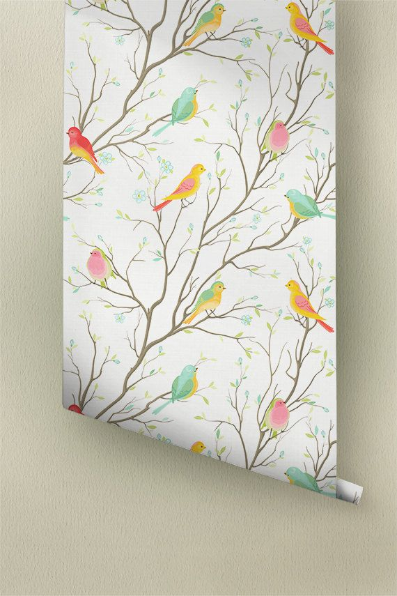Peel-and-Stick Removable Wallpaper Floral Vintage Historic Inspired Nature Birds