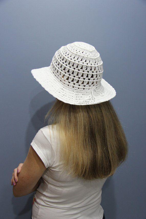 Crochet beach hat women wide brim Beach hat bride Sun hat white Summer hat  womens Cotton hat Women s 3ba1e1eb14d