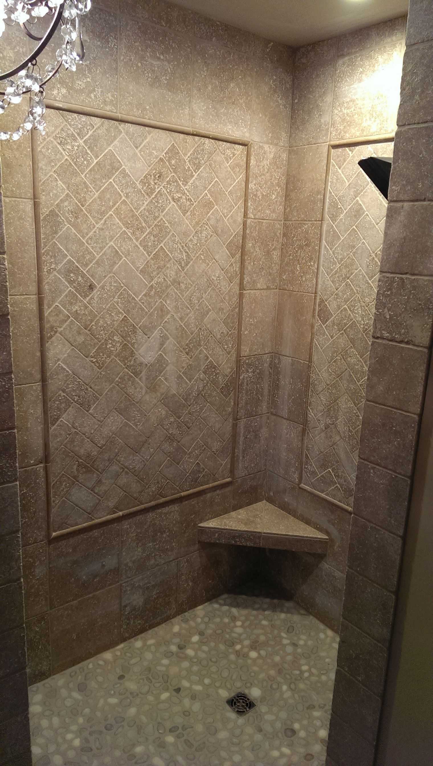 Open Shower Bathroom Tumbled Marble Pebble Floor Moen Dual Body Spray Valve Open