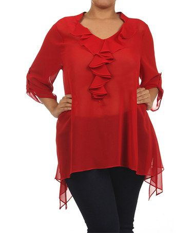 This Red Ruffle Sidetail Top - Plus by Come N See is perfect! #zulilyfinds