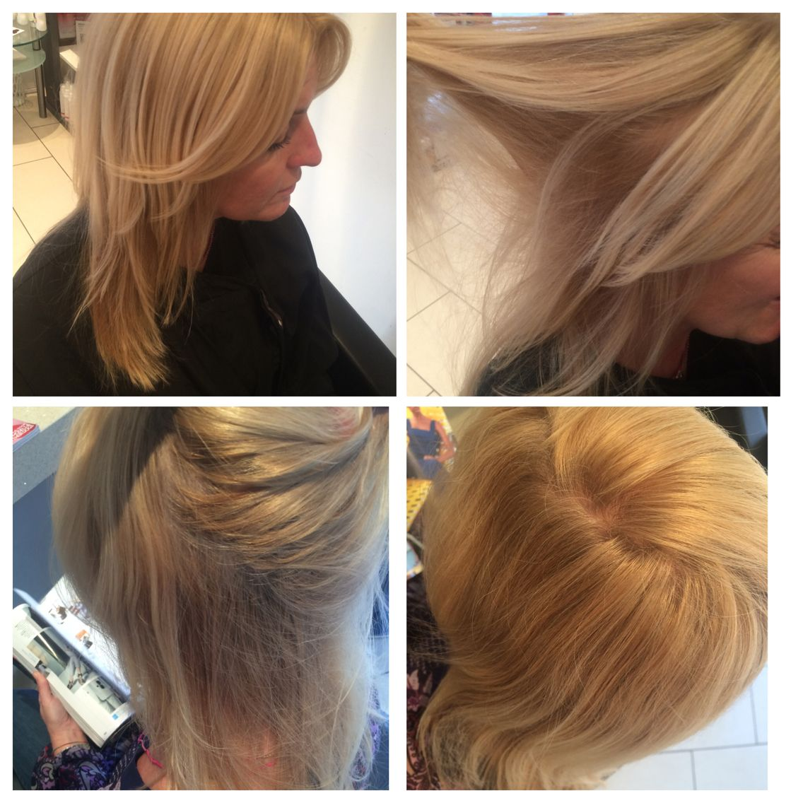 Root tint- with 10.0 with 30 vol and a smooth volumed blowdry to finish  using