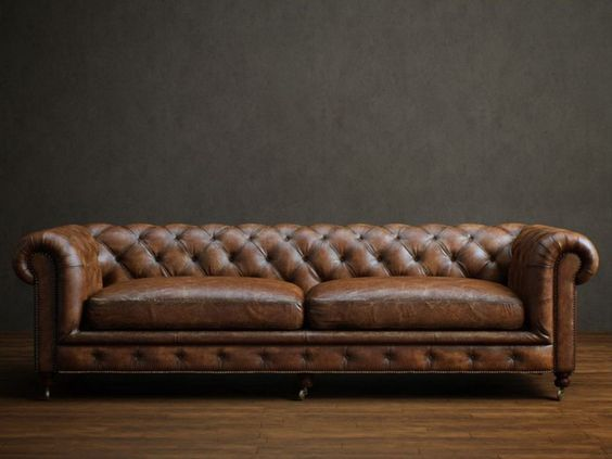 Two Seater Leather Chesterfield Sofa 3d Model Vintage