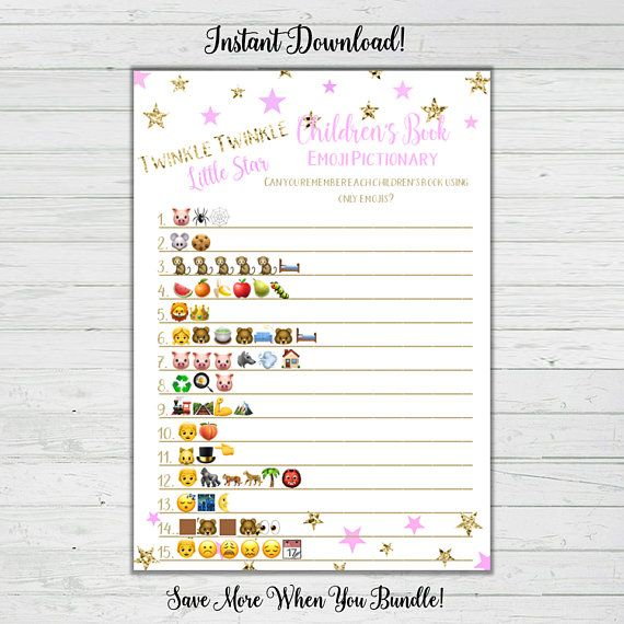 Childrens Book Emoji Pictionary Game Pink And Gold Baby Shower