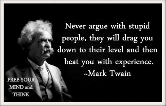 Don T Waste Your Time Arguing With Idiots Mark Twain Quotes Ignorant People Quotes Words