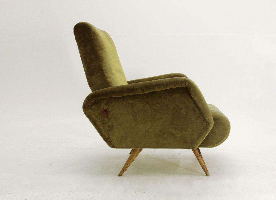 Poltrone Stile Anni 50.Poltrona Anni 50 Reclinabile In Velluto Vintage Armchair