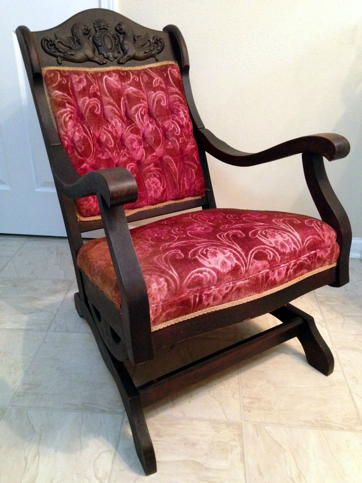 1800 s Victorian Walnut Red Velvet Solid Spring Rocking Chair