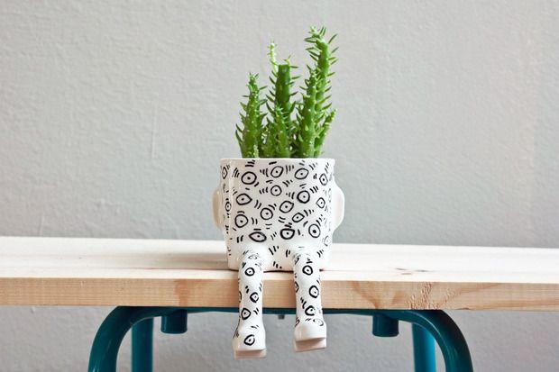 Vaso de cerâmica para plantinha simpática e feliz #decoração