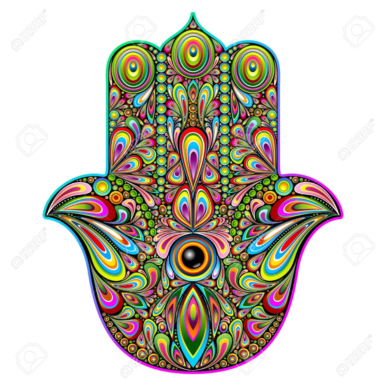 hamsa hand psychedelic art royalty free cliparts vectors and rh pinterest com Free Vector Flowers Free Sun Graphics