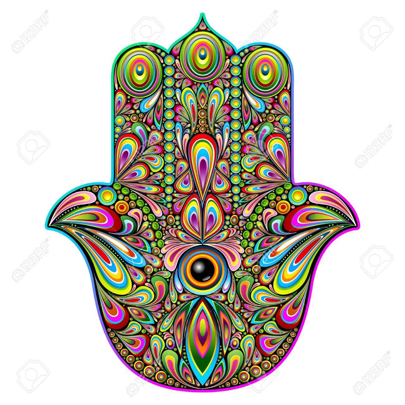 Hamsa Hand Psychedelic Art Royalty Free Cliparts Vectors