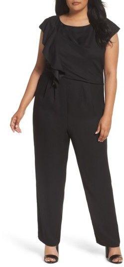 8d8c0b00db9 Plus Size Women s Eliza J Ruffle Crepe Wide Leg Jumpsuit