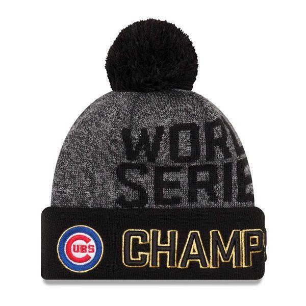 339970f711b Chicago Cubs New Era 2016 World Series Champions Locker Room Cuffed Knit  Hat with Pom -
