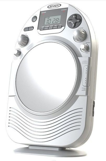 Jensen Shower Radio AM FM CD Fog Resistant Mirror Clock White For Bathroom  #Jensen #AMFMCDShowerRadiowithMirror