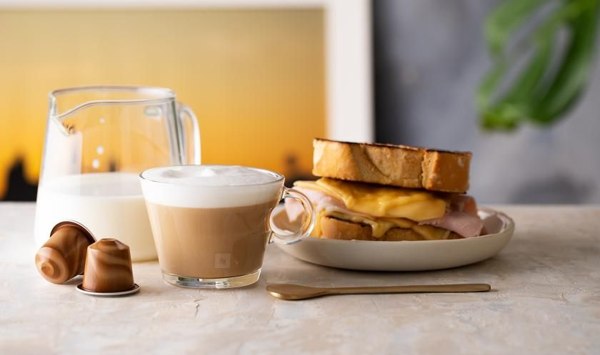 Misto Quente com Cappuccino   Receita em 2020   Receitas nespresso. Misto quente. Cappuccino