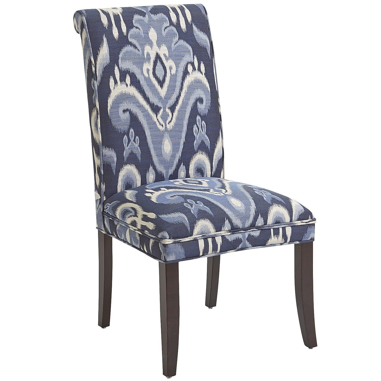 Angela Indigo Ikat Dining Chair With Espresso Wood