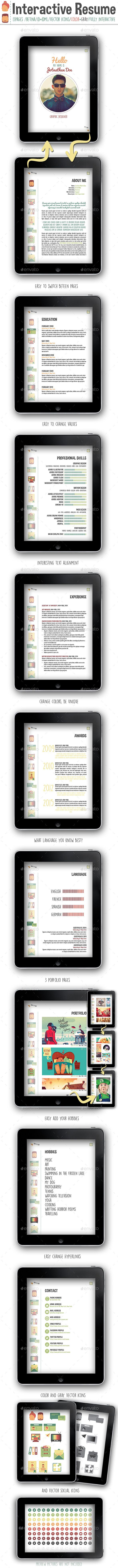 Interactive Resume PDF | Graphics, Adobe and Template
