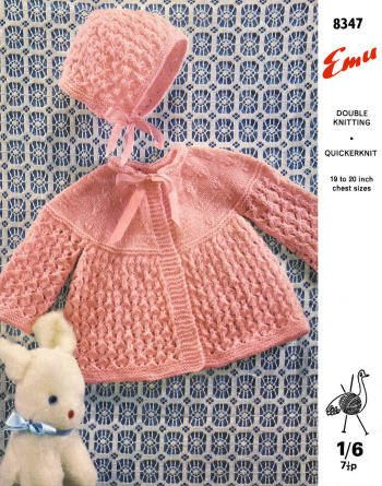 Baby Sweater Bonnet Vintage Knitting Pattern For Download Sz 18 24
