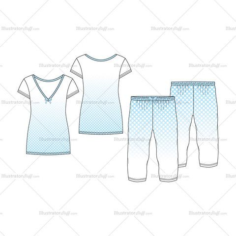 women s v neck nightwear pajama fashion flat template set in 2018