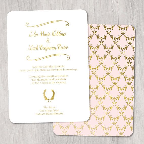 Mini Wreath Gold Foil Custom Wedding Invitation, Sample Set — foil stamped, traditional, script, calligraphy