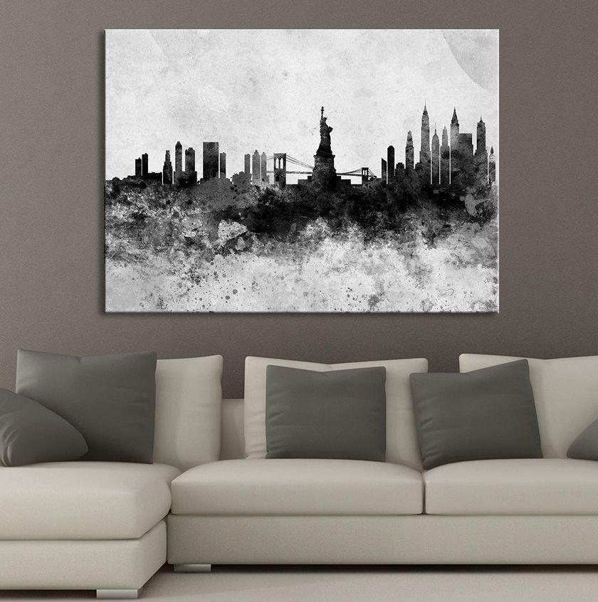 Watercolor splash new york city skyline art canvas print black white