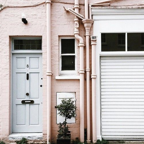 Contemporary Folk Pink House Exteriors For Hip Vintage Urban Home