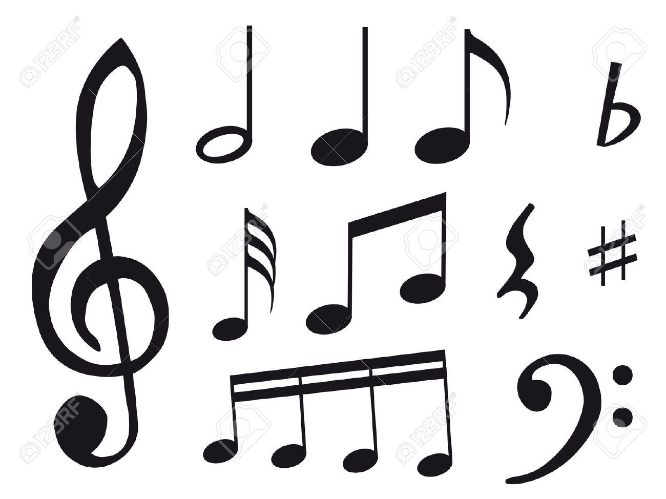 Different kind of music notes as symbol of sheet music royalty different kind of music notes as symbol of sheet music royalty biocorpaavc Images