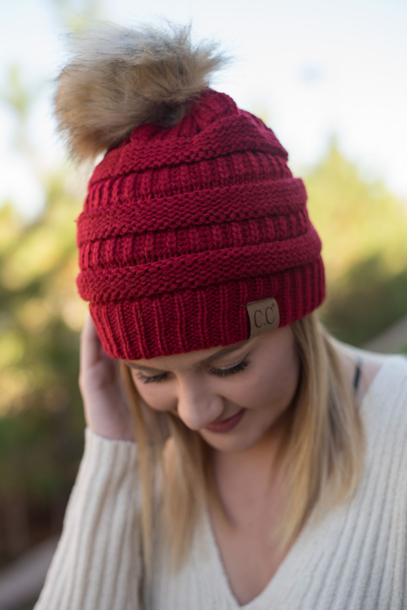 d7f1e63f5 CC solid beanie with fur pom red   CC Beanies, Hats, and Scarves ...