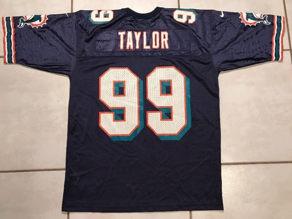brand new 05fea 01098 Rare Vintage NIKE Miami Dolphins Jason Taylor NFL NAVY BLUE ...