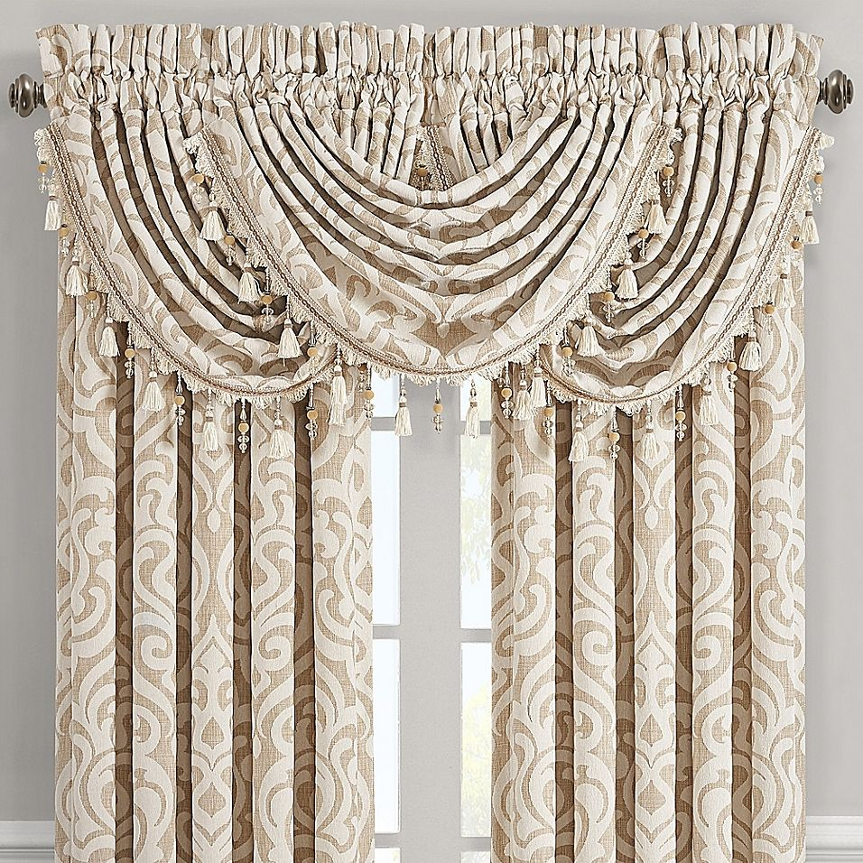 J Queen New York Milano Waterfall Window Valance In Sand Bed Bath Beyond Waterfall Valance Valance Queens New York