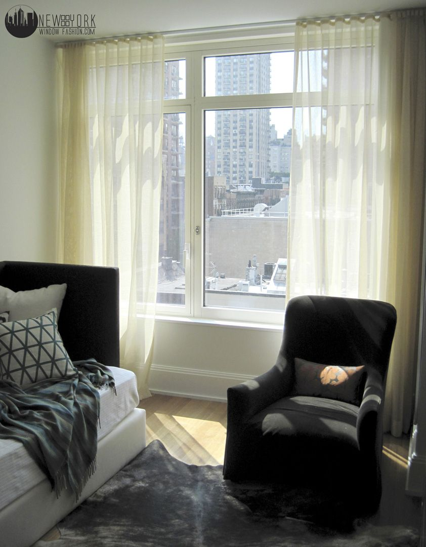 Sheer Ripplefold Style Curtains In A Modern Nyc Apartment