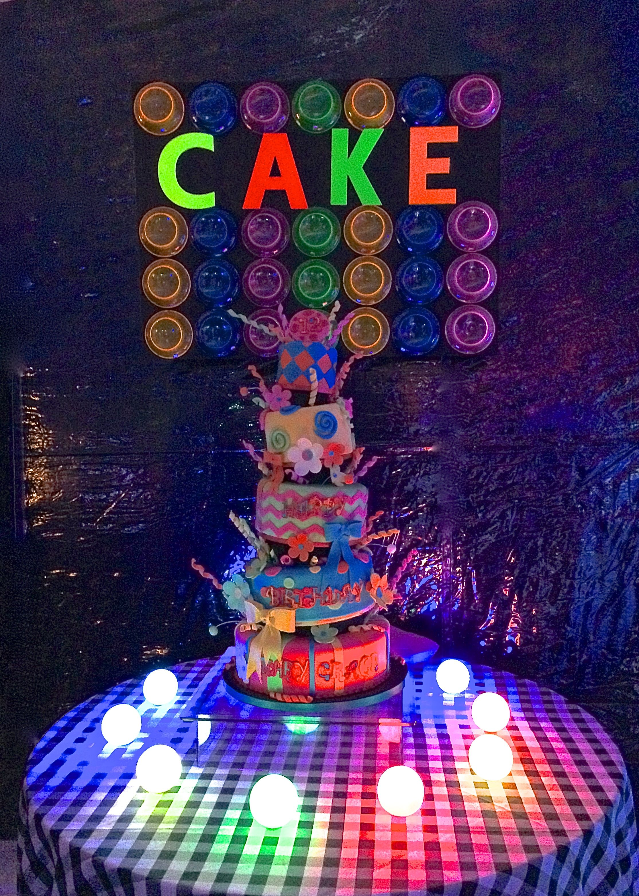 Peachy Even The Cake Was Glowing Glow Party Neon Birthday Neon Personalised Birthday Cards Petedlily Jamesorg