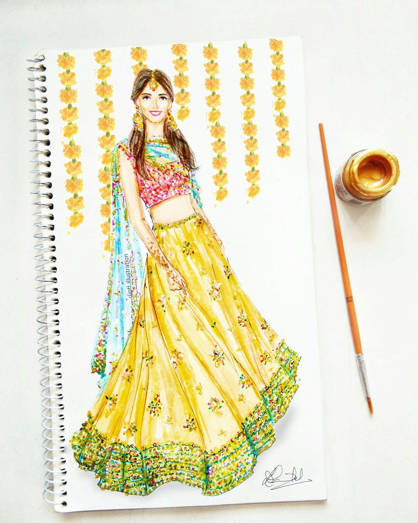Indian Wedding Bride Mehendi Lehenga Weddingdecor Photography Fashion Illustration Sketches Dresses Dress Design Sketches Fashion Drawing Dresses