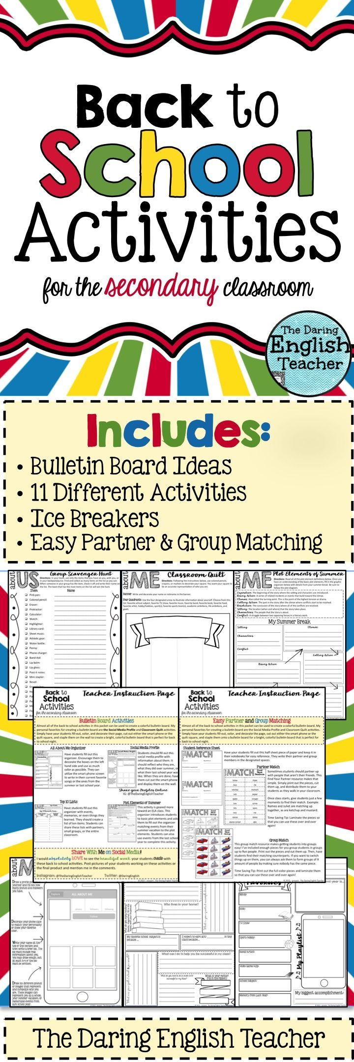 Back to school activities for the secondary classroom!