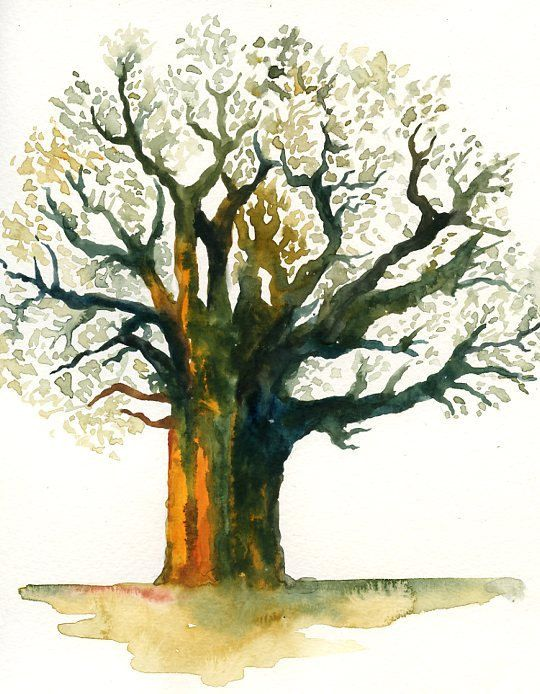 Baobab-Landscape painting-Watercolor-Archival Large Print from my original watercolor painting 11x14 inch on Etsy, £22.37
