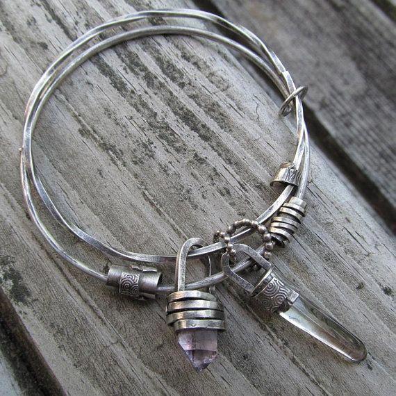 Charm Bangle Bracelet Silver Gemstone Charm Bracelet Amethyst Kick