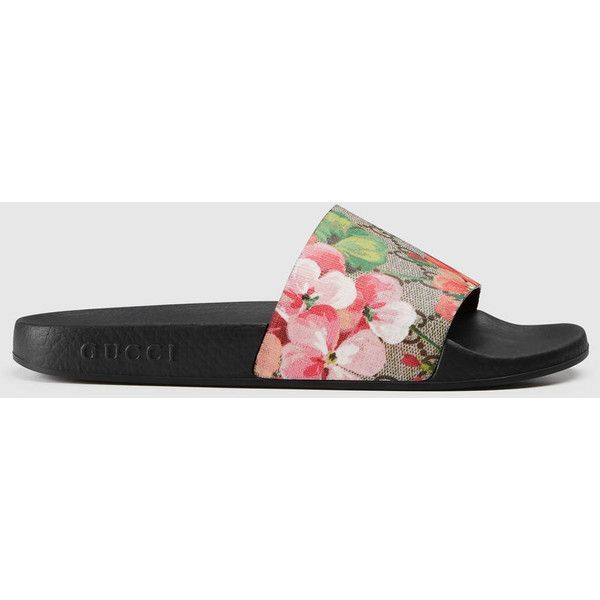 107a29d04010 Gucci Gg Blooms Supreme Slide Sandal ( 245) ❤ liked on Polyvore featuring  shoes