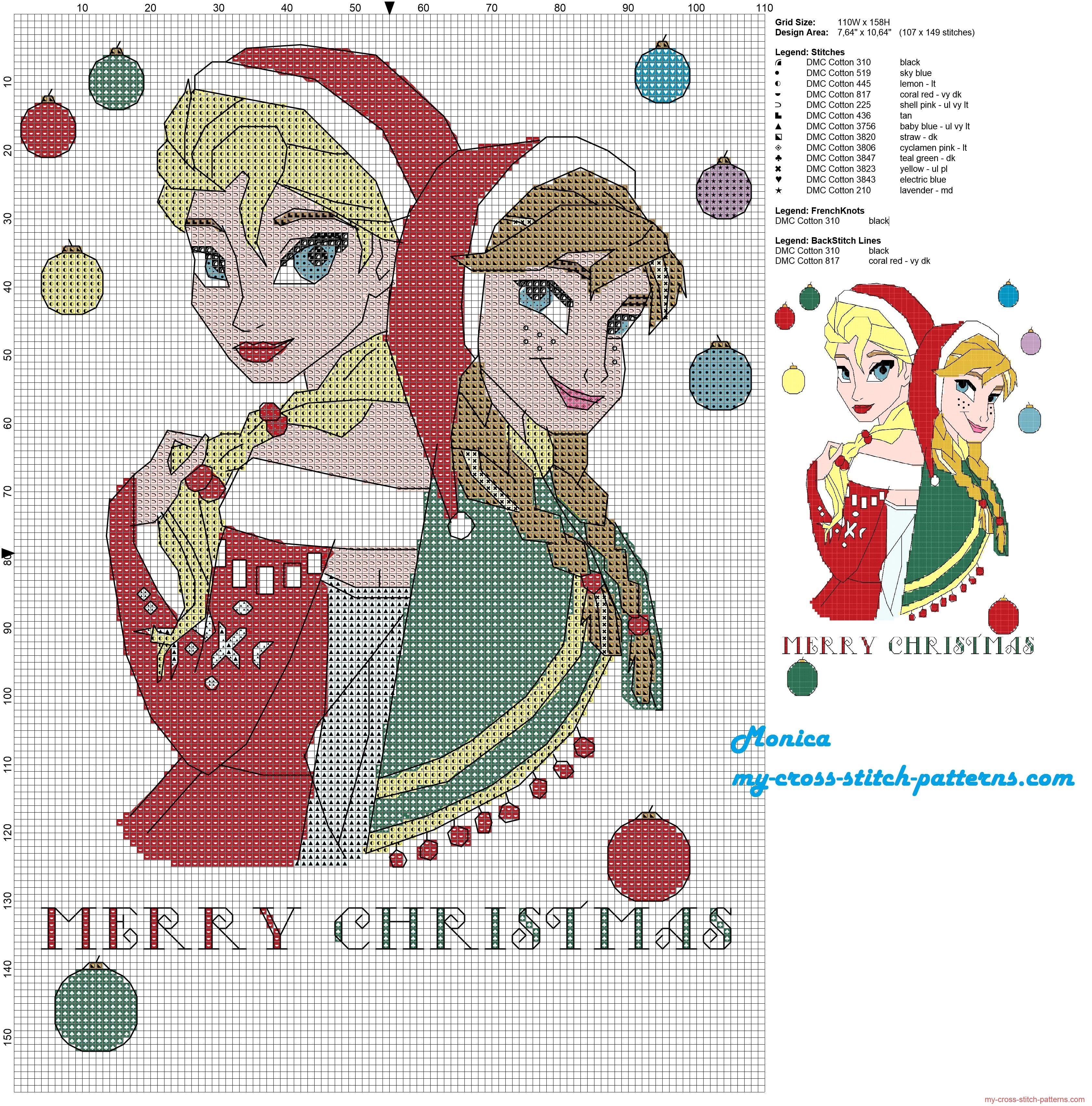 Elsa and Anna Merry Christmas cross stitch pattern | crafts