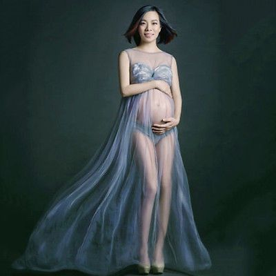 c1e9533c495f9 Newest Pregnant Women See-Through Gown Photography Maternity Dress With  Panties