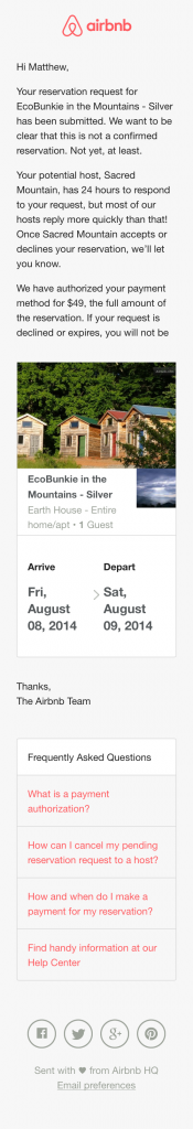 Reservation Receipt Email Design From Airbnb Really Good Emails Email Design Airbnb Design