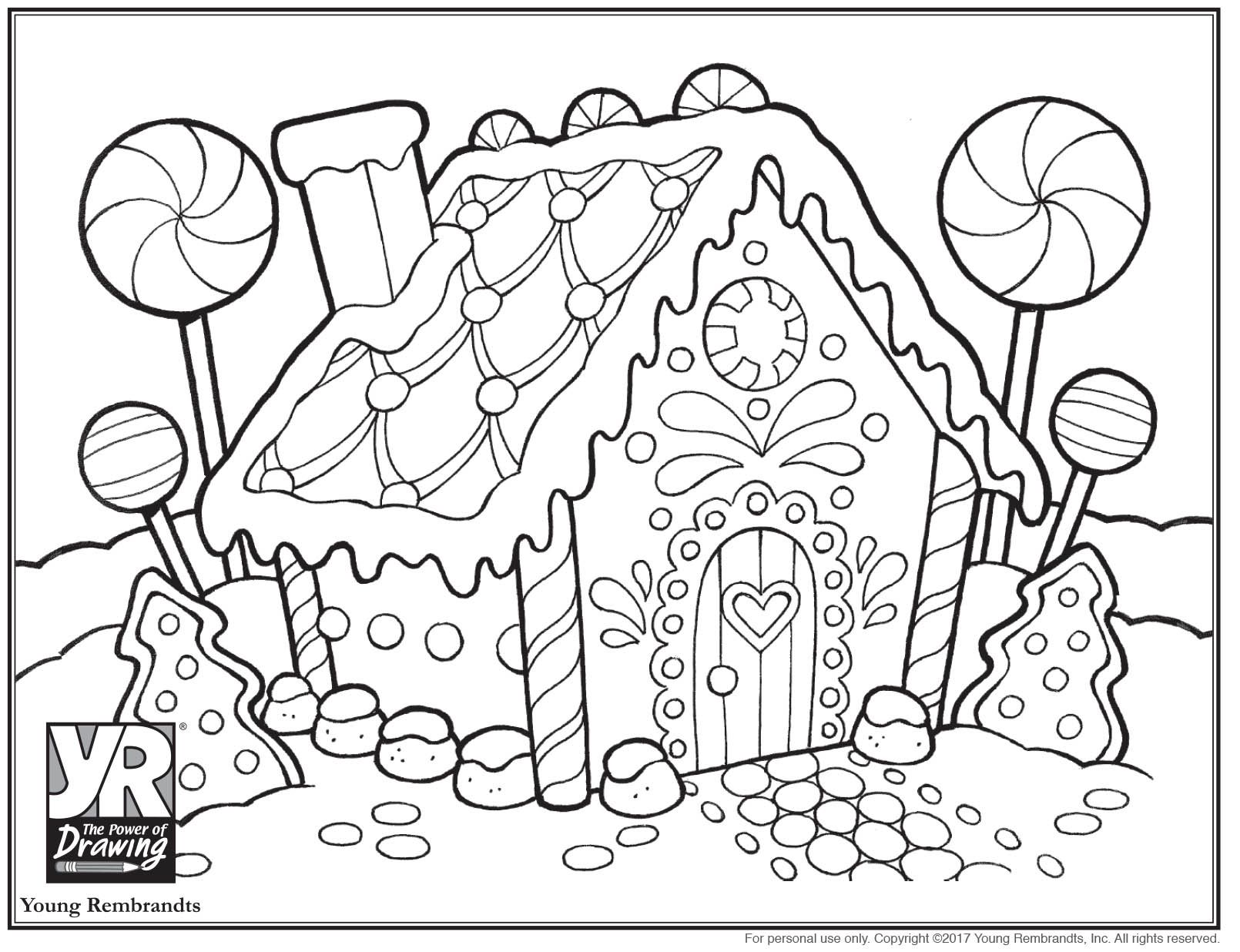 Gingerbread House Coloring Pages To Print Free Coloring