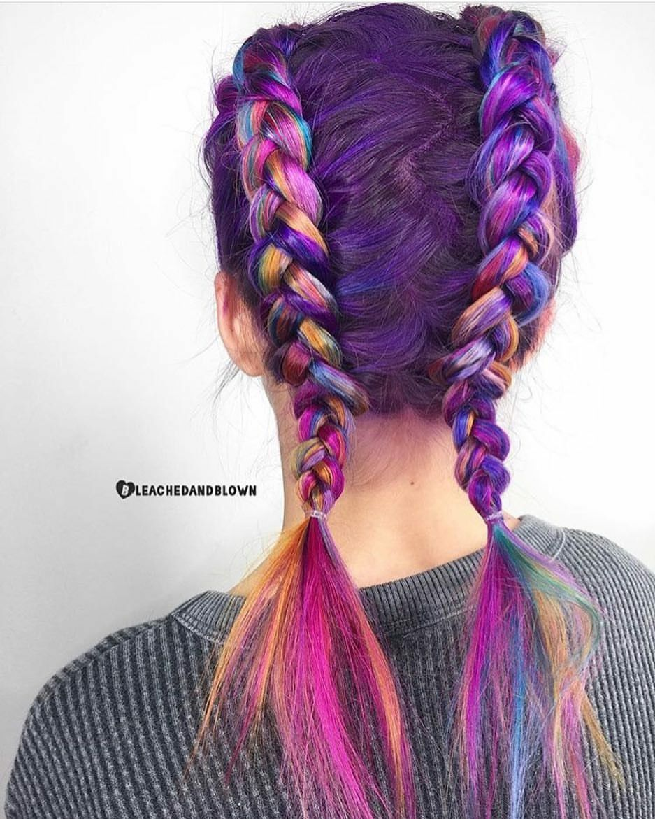 Beauty Fantasy Unicorn Purple Violet Red Cherry Pink Yellow Bright Hair Colour Color Coloured Colored Fire Style Cur Hair Styles Bright Hair Colors Lilac Hair