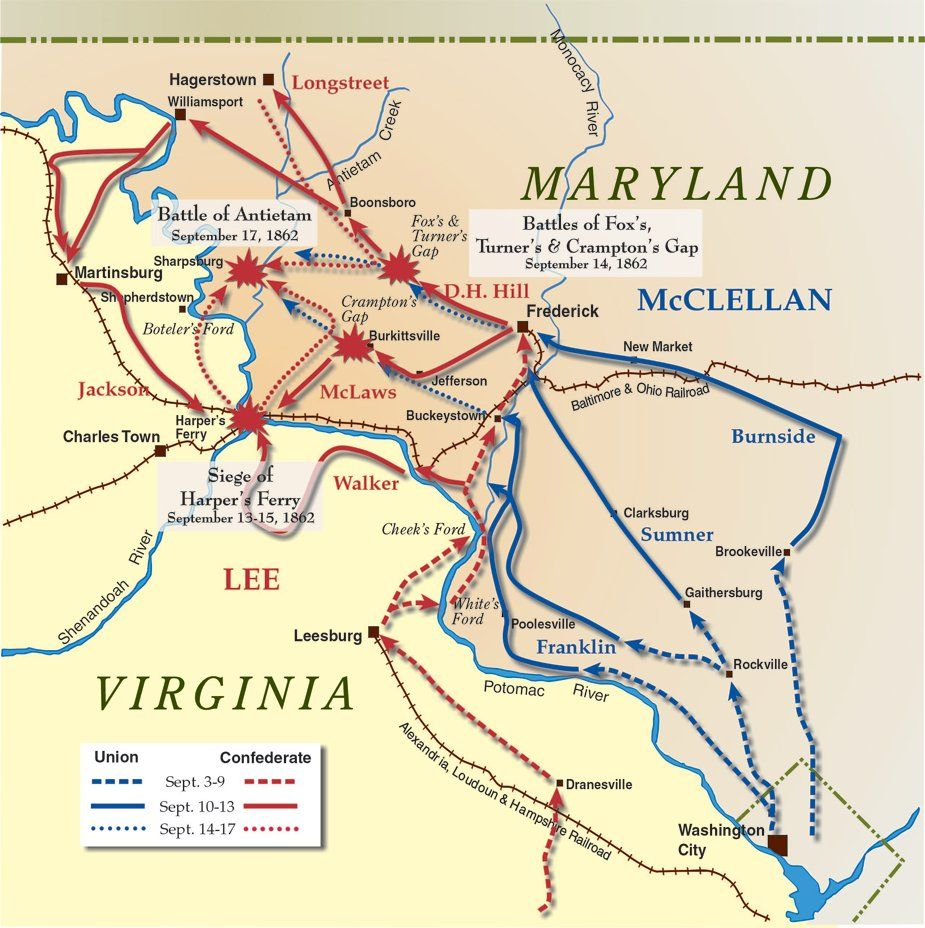 Civil War A Summary For Grades Antietam Battle Map US Civil - Us map 1862