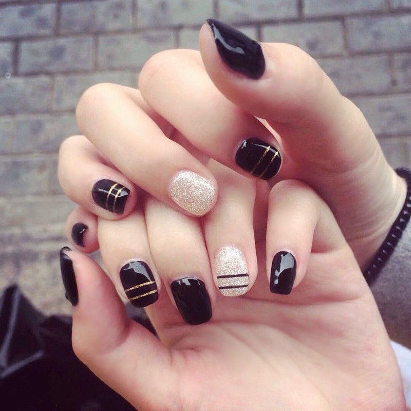 24Pcs Black Fake Nails Full False Nails French Finger Fake Art ...