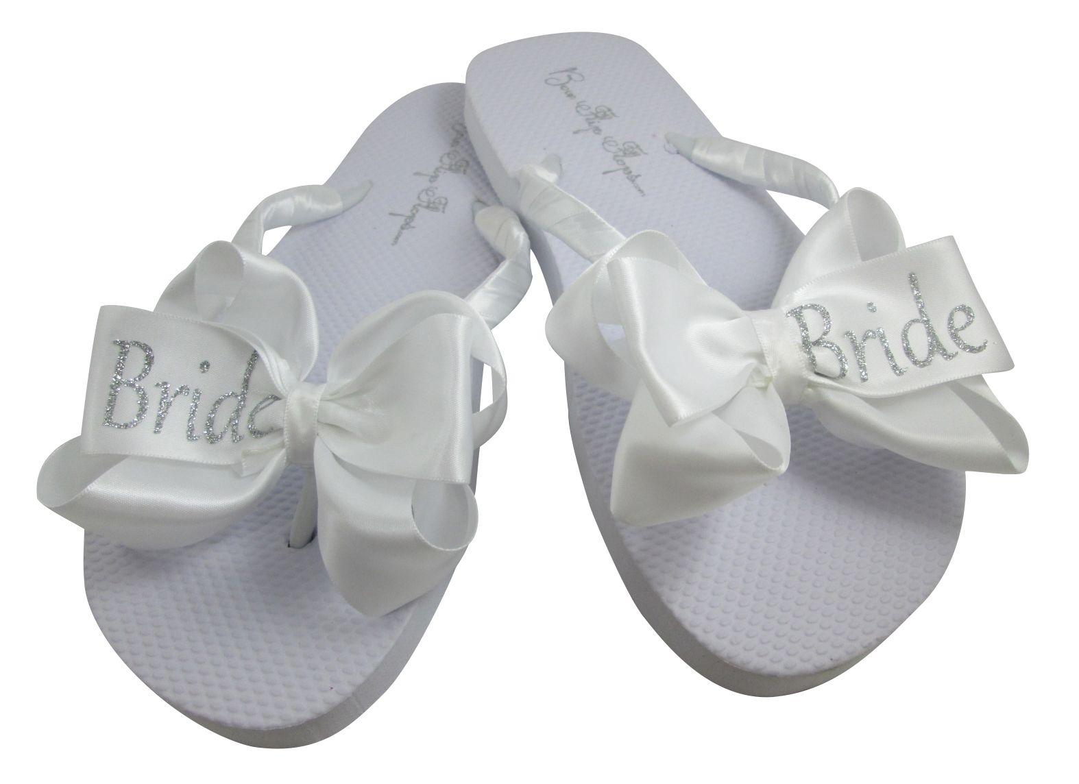 ee860f58936 Glitter BRIDE Bow Flip Flops