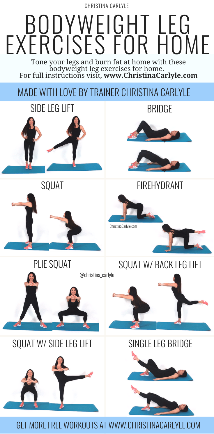 Leg Exercises at Home Bodyweight Workout for Women in 2020 ...