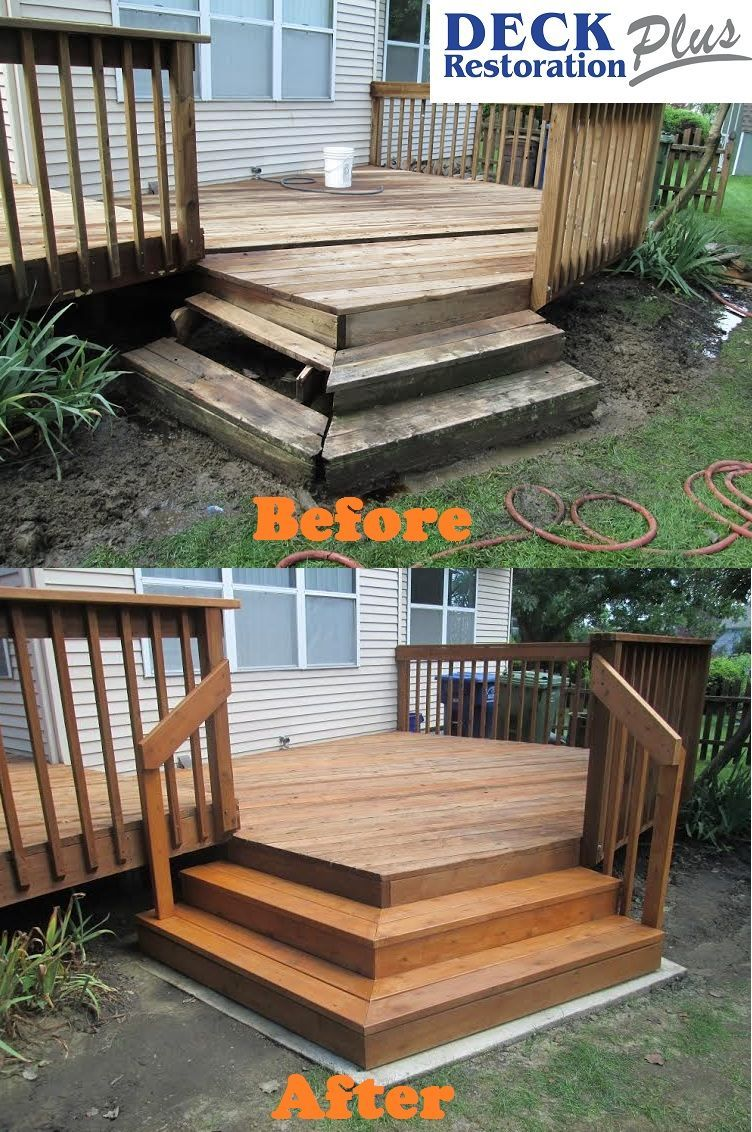 Deck Restoration Plus Removed Old, Rotted Steps And Added A Concrete  Footing And Replaced With