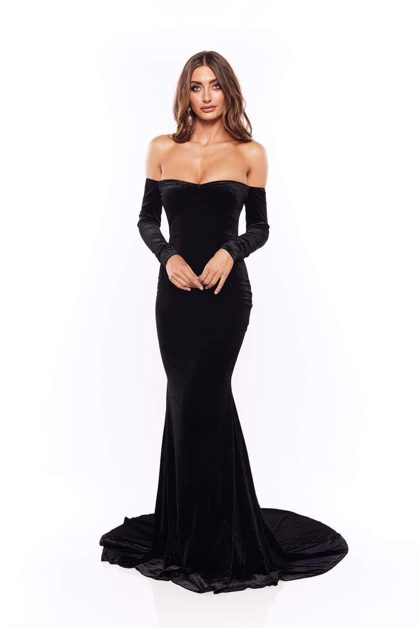Cadencia Black Long Sleeve Velvet Gown With Mermaid Train Long Mermaid Dress Strapless Dress Formal Long Sleeve Dress [ 2000 x 1333 Pixel ]