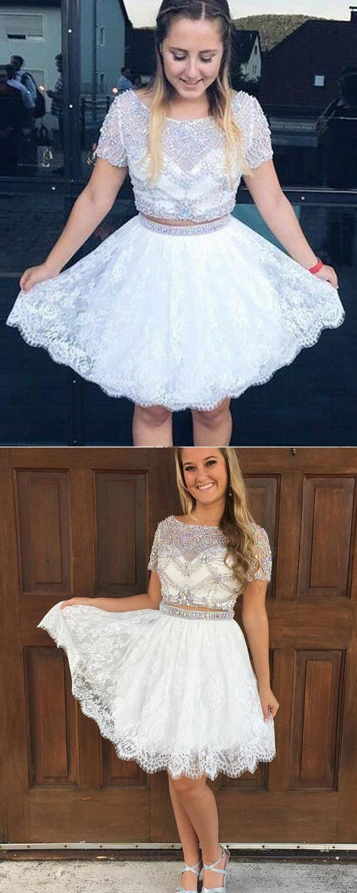 Bateau beading sheer two piece white homecoming dress with lace