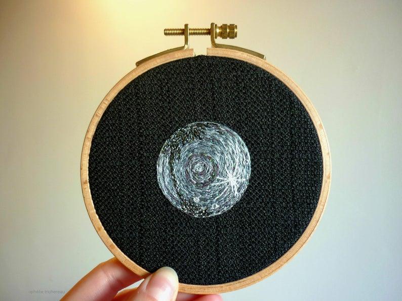 Art embroidery planet Mercury  Art embroidery Mercury planet.