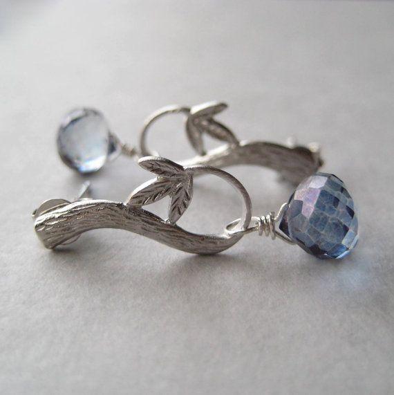 Blue Quartz Earrings Faceted Mystic Quartz by juliegarland on Etsy, $30.00